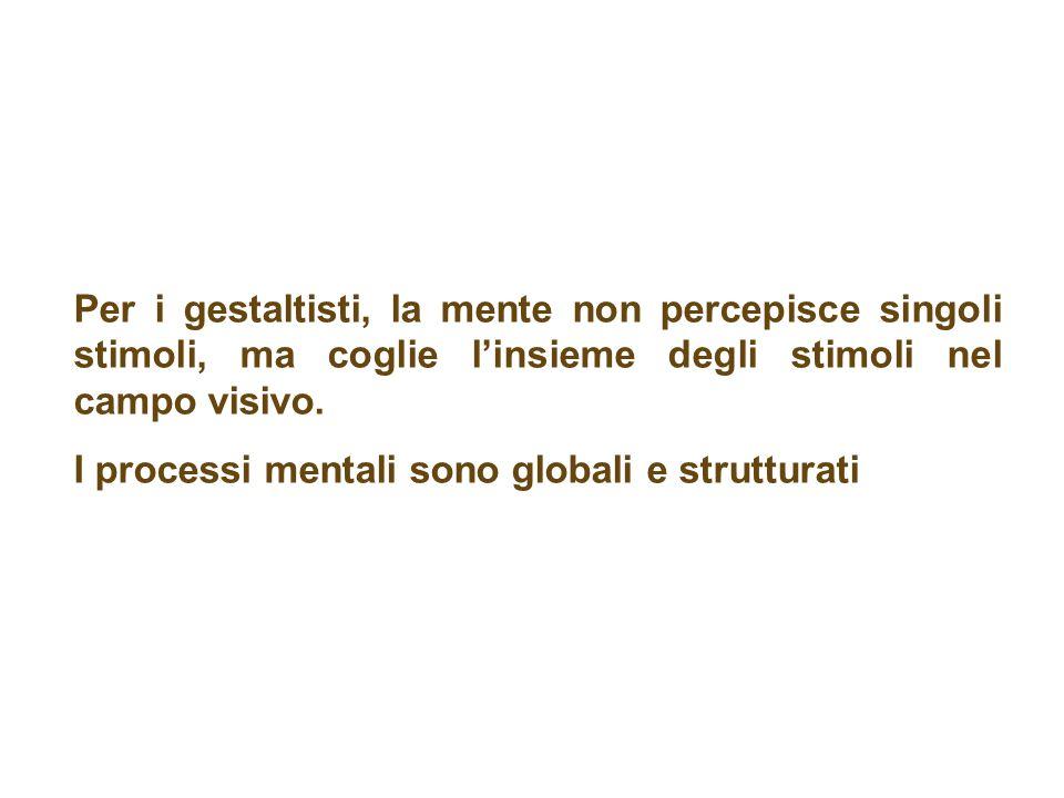 Per i gestaltisti, la mente non percepisce singoli stimoli, ma coglie l'insieme degli stimoli nel campo visivo.