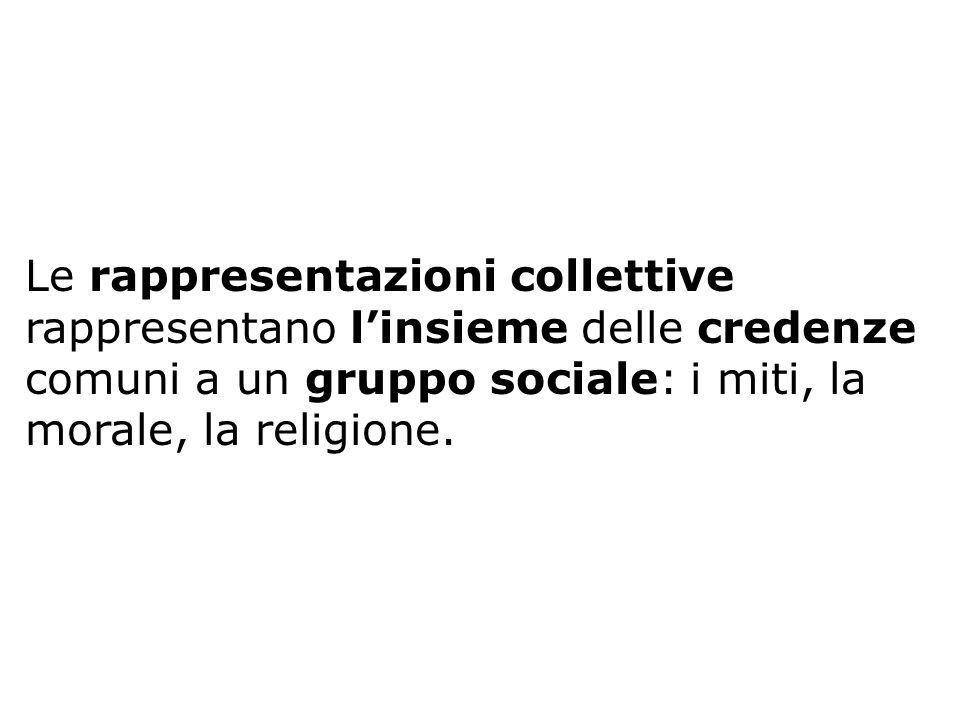 Le rappresentazioni collettive rappresentano l'insieme delle credenze comuni a un gruppo sociale: i miti, la morale, la religione.