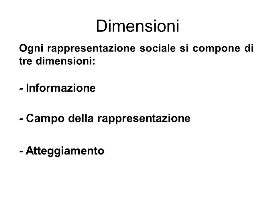 Dimensioni - Informazione - Campo della rappresentazione