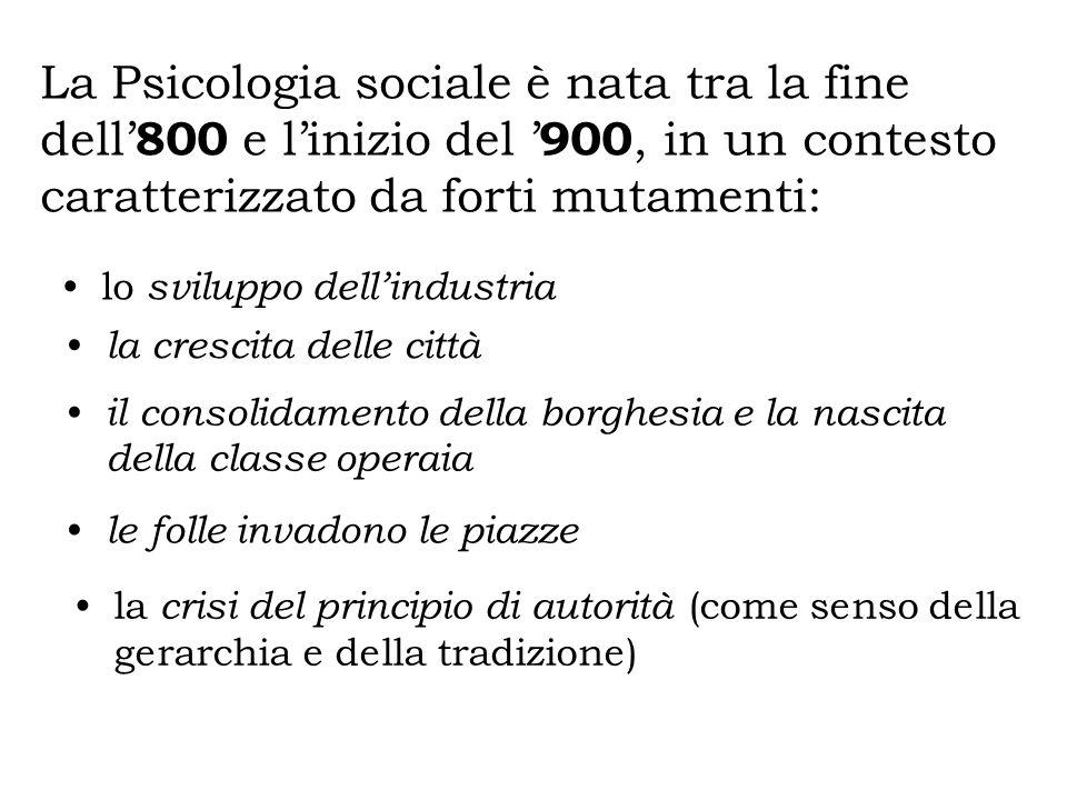 La Psicologia sociale è nata tra la fine dell'800 e l'inizio del '900, in un contesto caratterizzato da forti mutamenti: