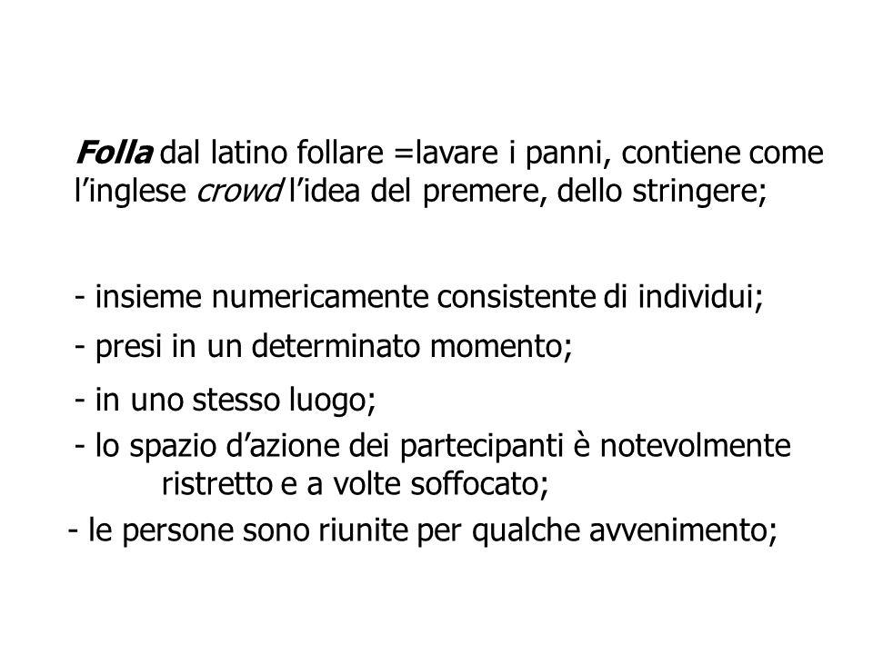 Folla dal latino follare =lavare i panni, contiene come l'inglese crowd l'idea del premere, dello stringere;