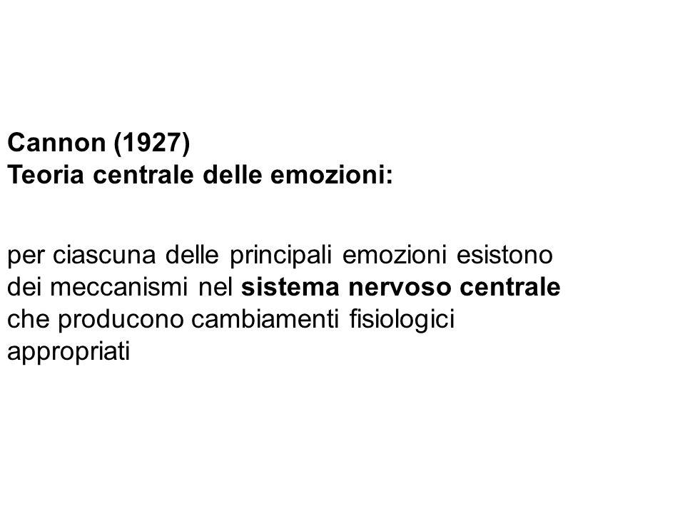 Cannon (1927) Teoria centrale delle emozioni: