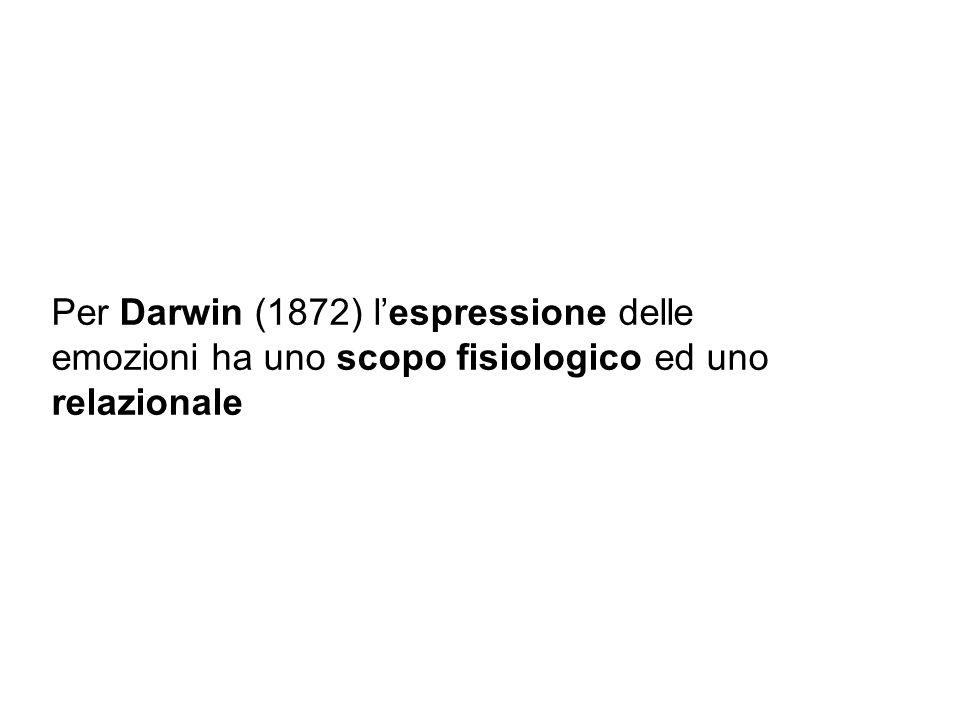 Per Darwin (1872) l'espressione delle emozioni ha uno scopo fisiologico ed uno relazionale