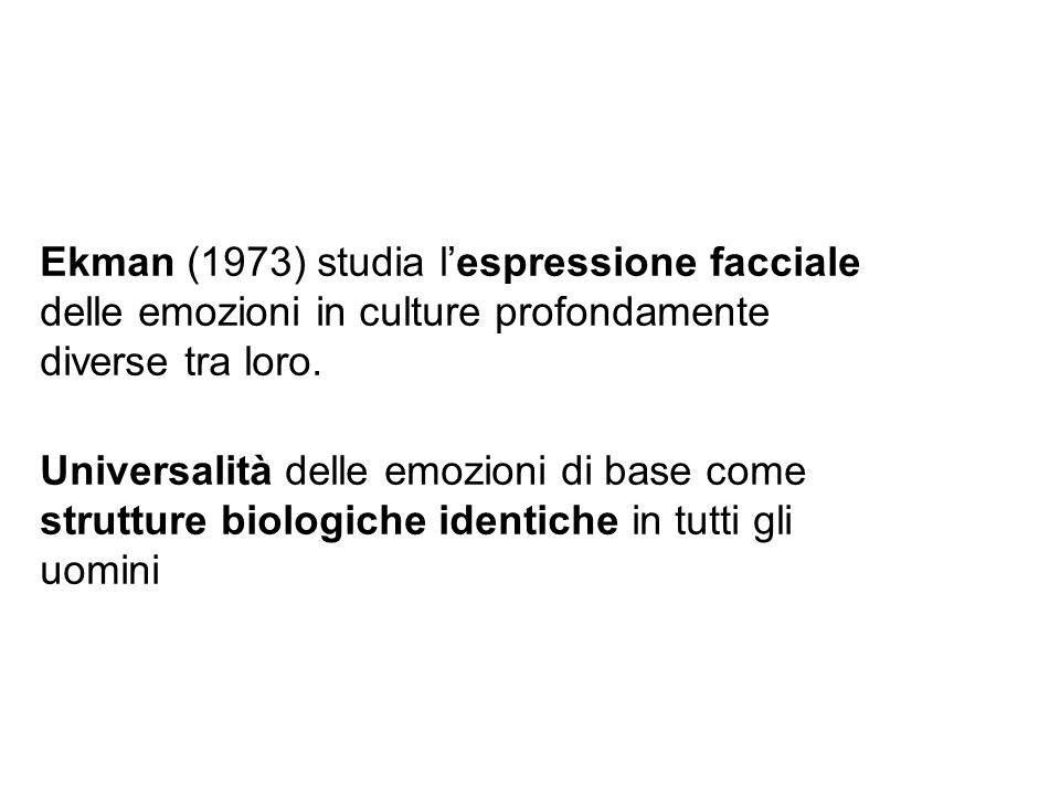Ekman (1973) studia l'espressione facciale delle emozioni in culture profondamente diverse tra loro.