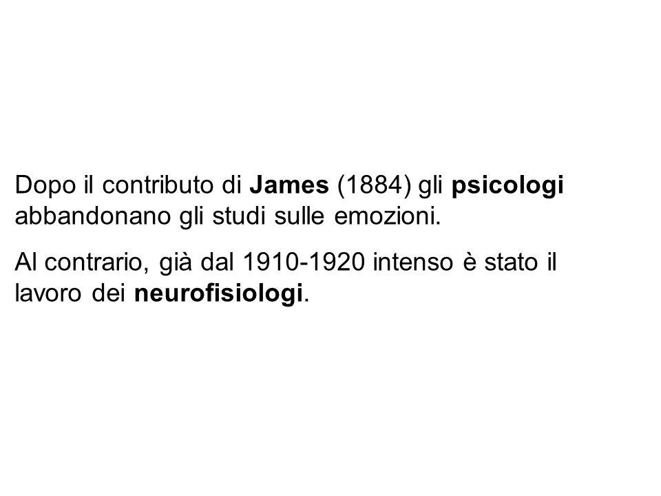 Dopo il contributo di James (1884) gli psicologi abbandonano gli studi sulle emozioni.