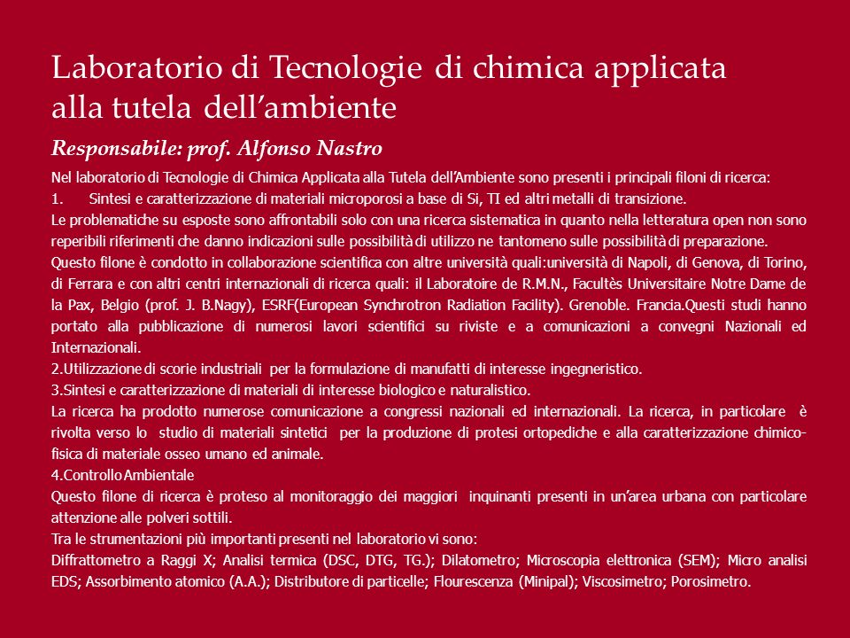 Laboratorio di Tecnologie di chimica applicata