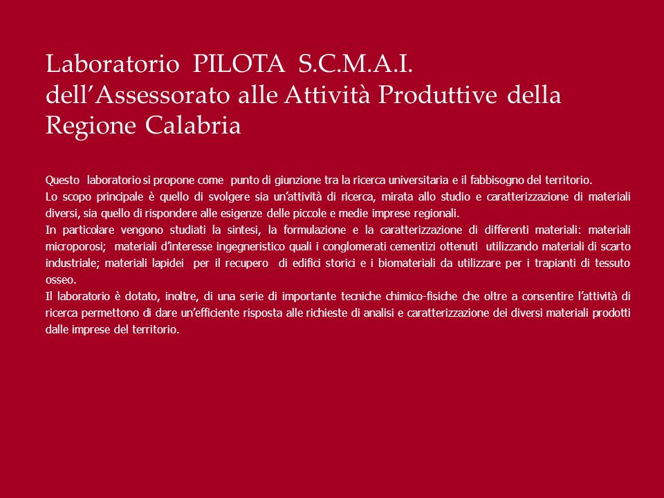 Laboratorio PILOTA S.C.M.A.I.