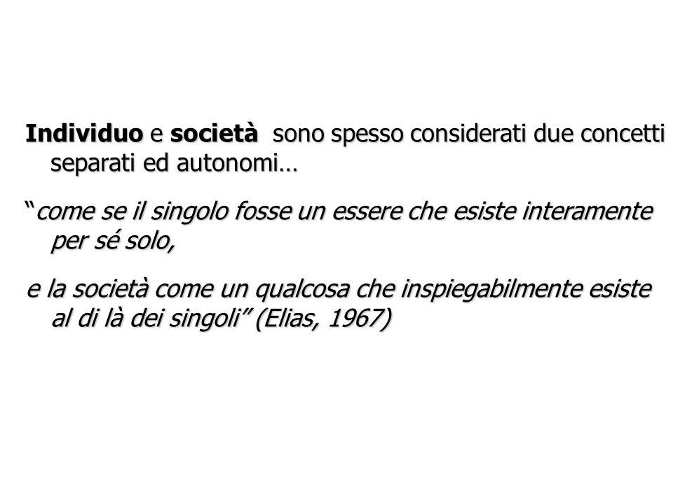 Individuo e società sono spesso considerati due concetti separati ed autonomi…