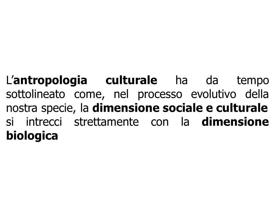 L'antropologia culturale ha da tempo sottolineato come, nel processo evolutivo della nostra specie, la dimensione sociale e culturale