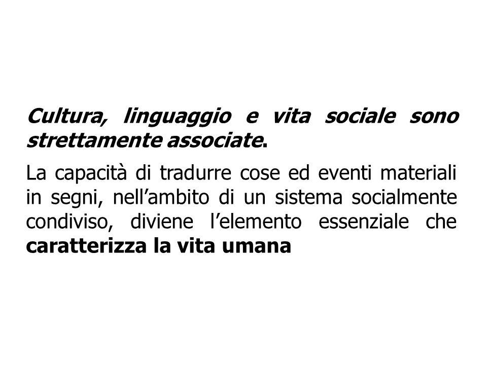 Cultura, linguaggio e vita sociale sono strettamente associate.