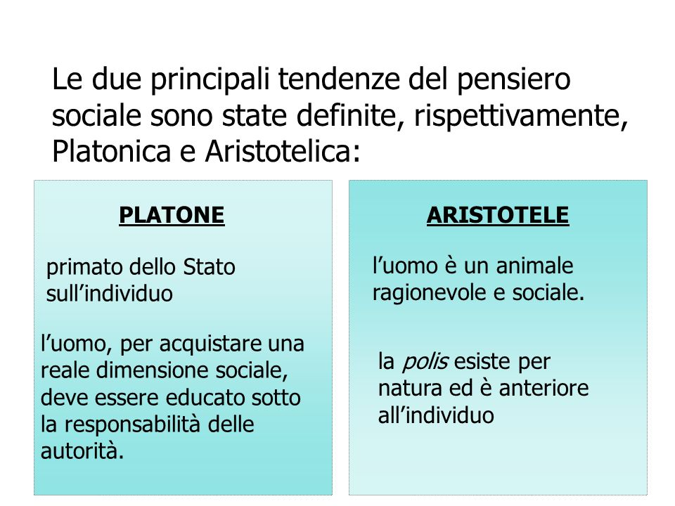 Le due principali tendenze del pensiero sociale sono state definite, rispettivamente, Platonica e Aristotelica: