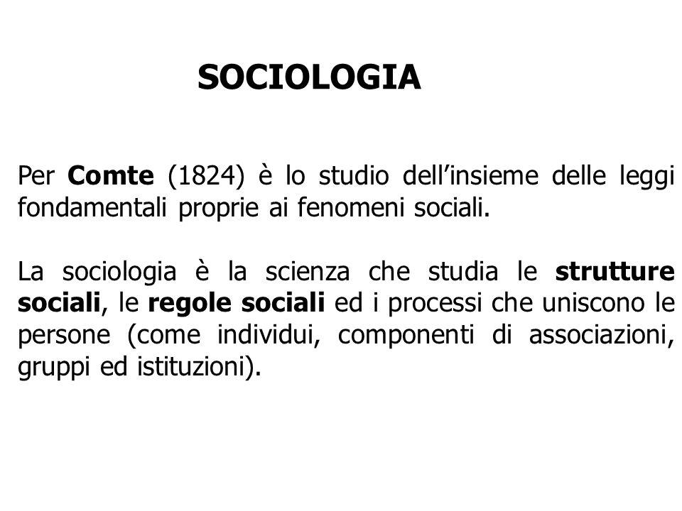 SOCIOLOGIA Per Comte (1824) è lo studio dell'insieme delle leggi fondamentali proprie ai fenomeni sociali.