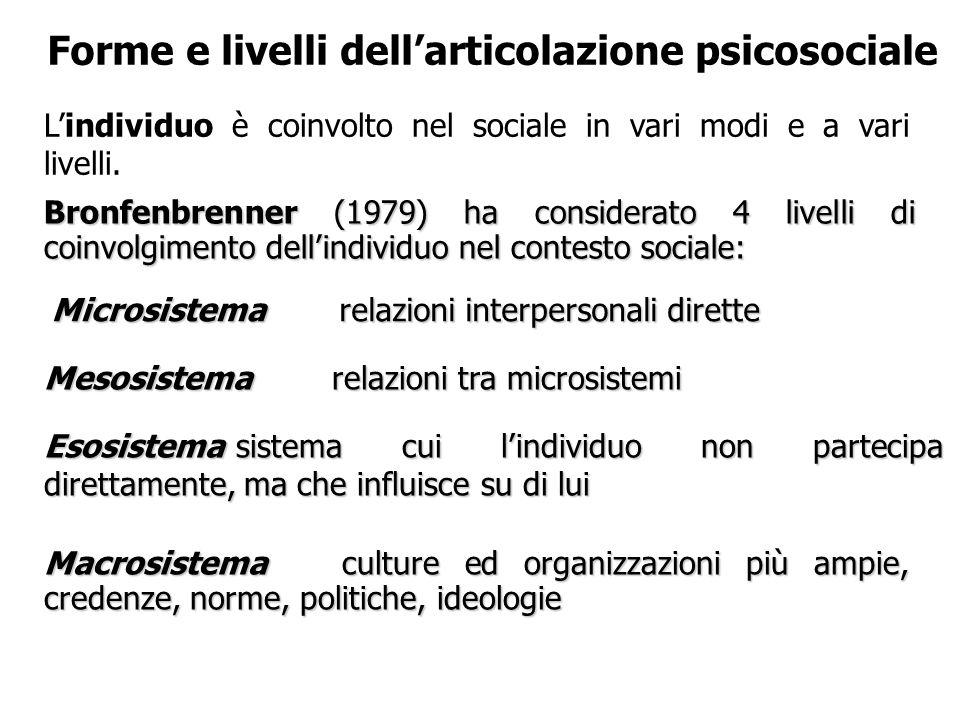 Forme e livelli dell'articolazione psicosociale