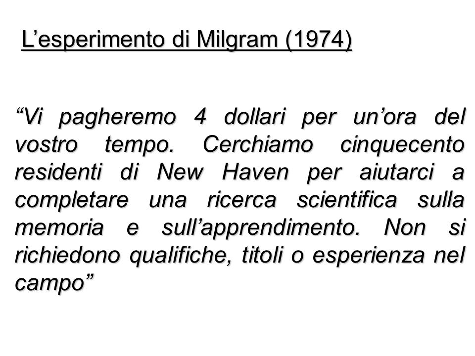 L'esperimento di Milgram (1974)