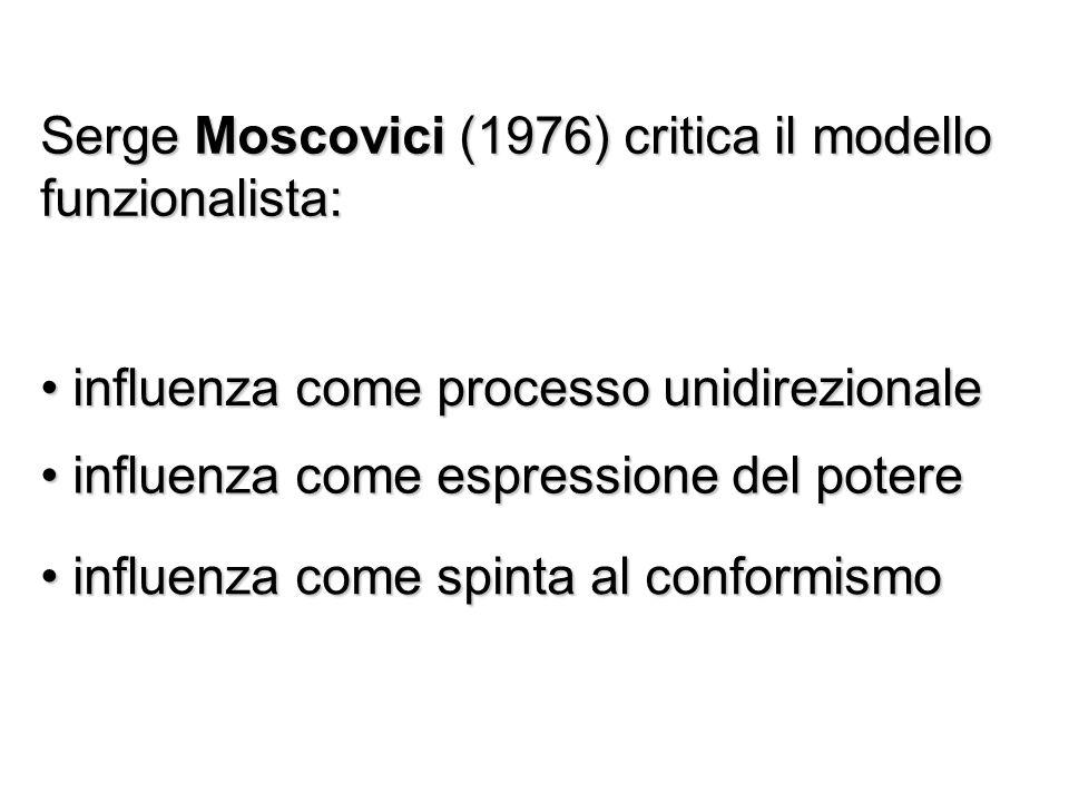 Serge Moscovici (1976) critica il modello funzionalista: