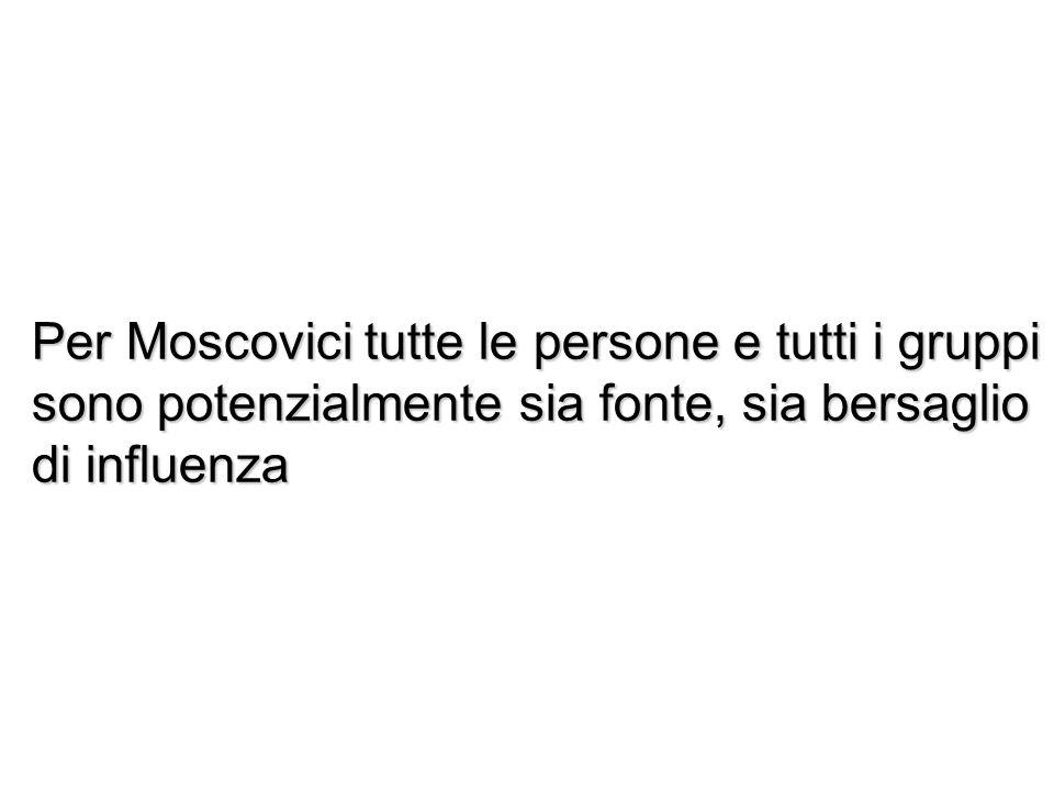Per Moscovici tutte le persone e tutti i gruppi sono potenzialmente sia fonte, sia bersaglio di influenza