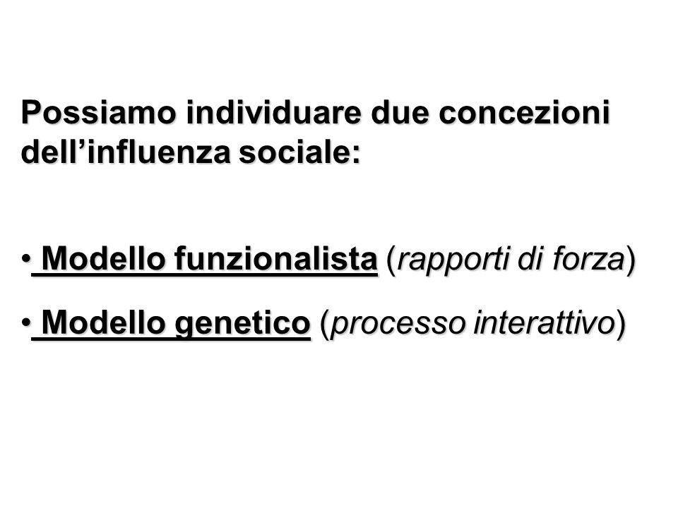 Possiamo individuare due concezioni dell'influenza sociale: