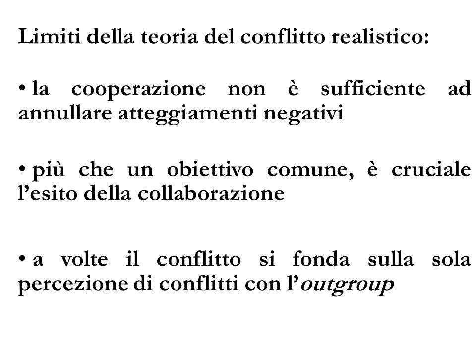 Limiti della teoria del conflitto realistico: