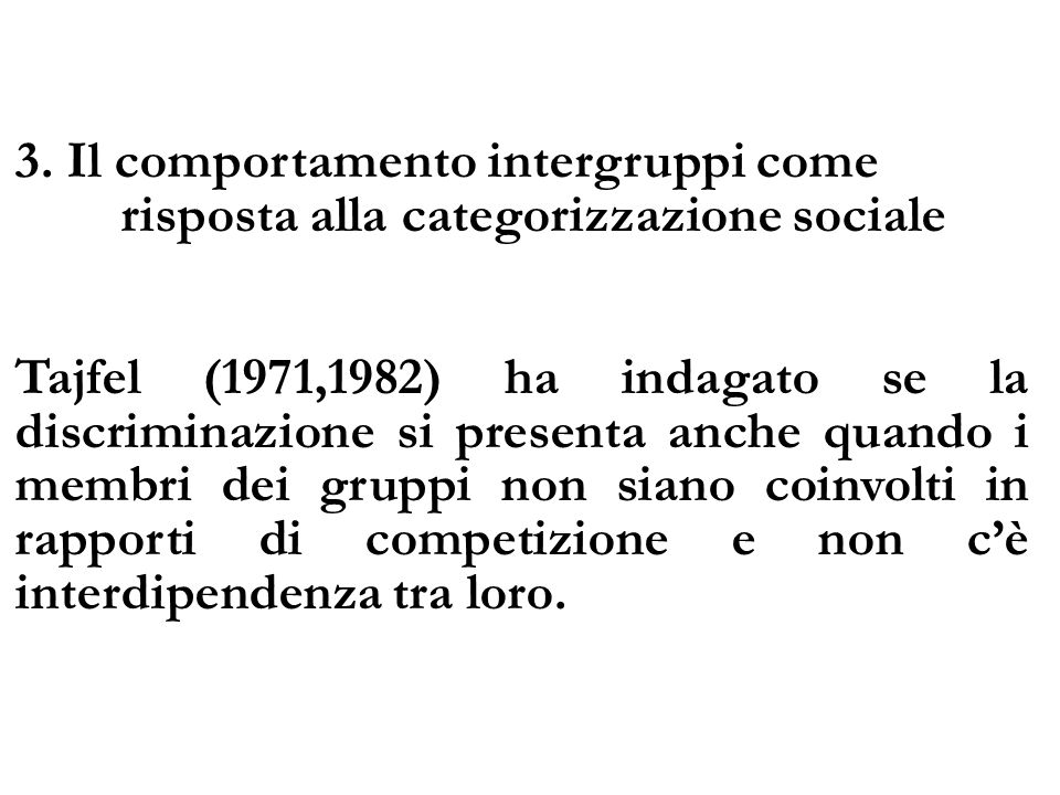 3. Il comportamento intergruppi come