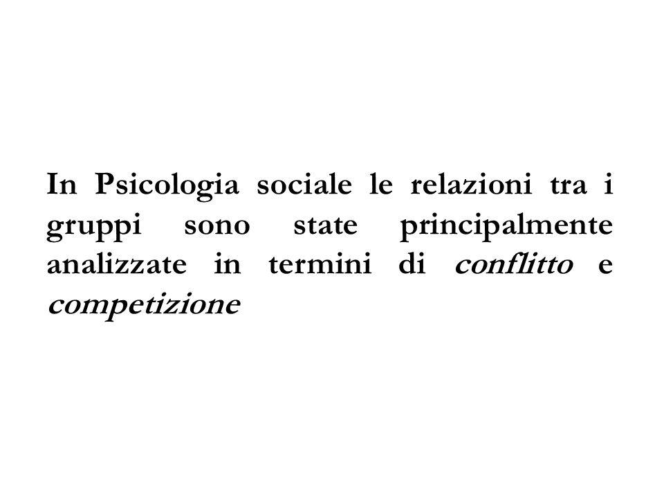 In Psicologia sociale le relazioni tra i gruppi sono state principalmente analizzate in termini di conflitto e competizione