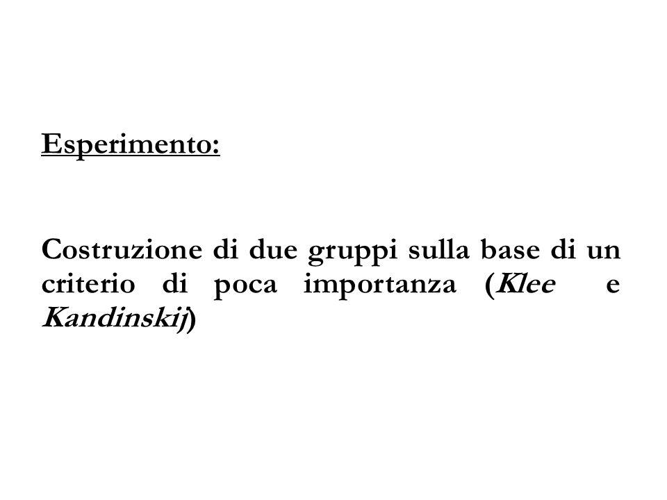 Esperimento: Costruzione di due gruppi sulla base di un criterio di poca importanza (Klee e Kandinskij)