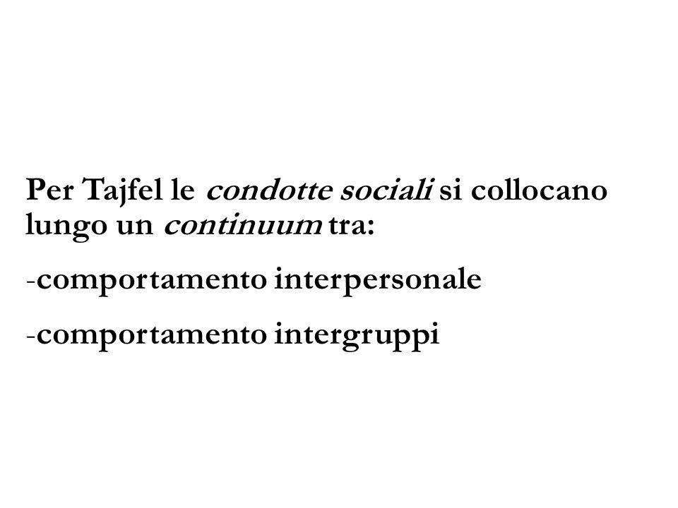Per Tajfel le condotte sociali si collocano lungo un continuum tra: