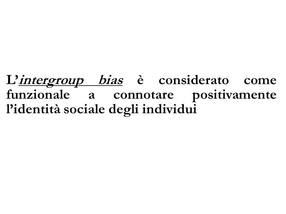 L'intergroup bias è considerato come funzionale a connotare positivamente l'identità sociale degli individui