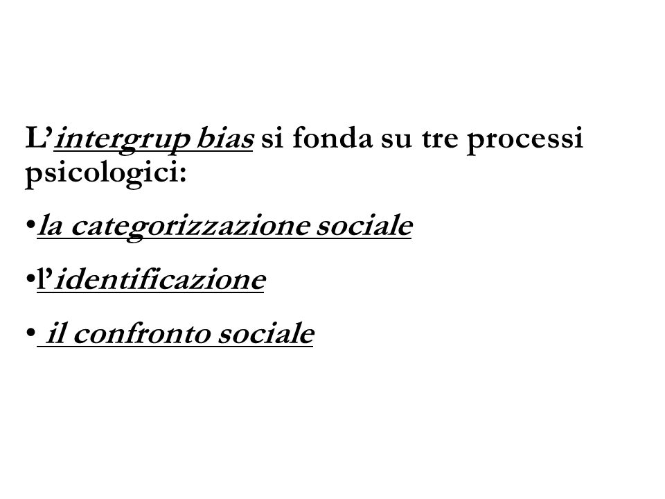L'intergrup bias si fonda su tre processi psicologici: