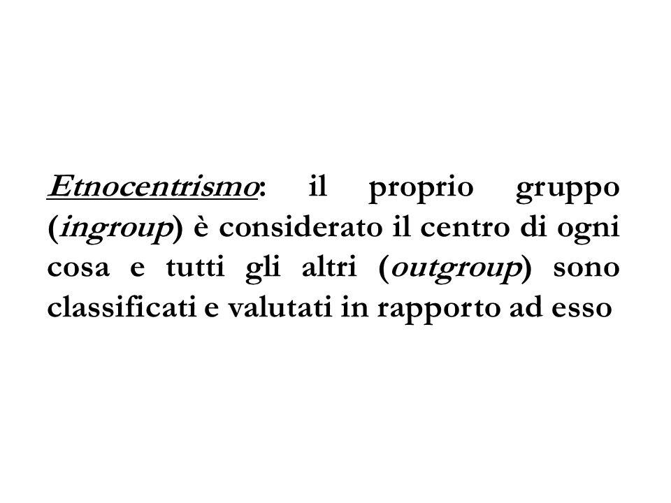 Etnocentrismo: il proprio gruppo (ingroup) è considerato il centro di ogni cosa e tutti gli altri (outgroup) sono classificati e valutati in rapporto ad esso