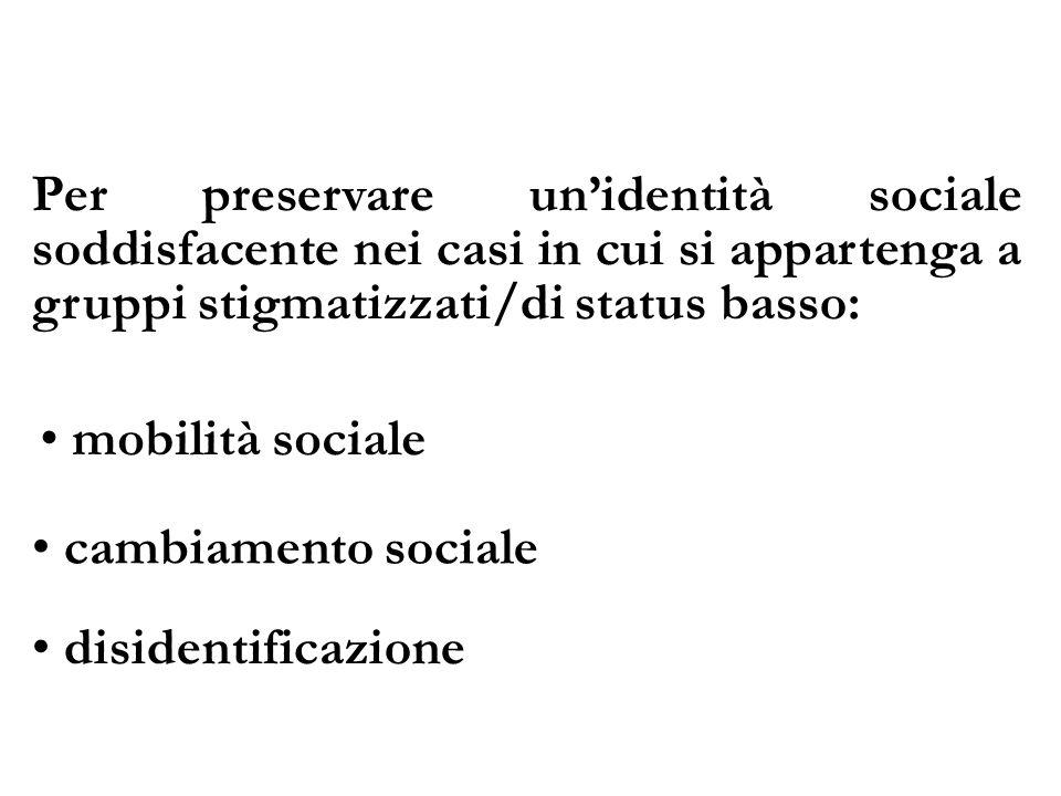 Per preservare un'identità sociale soddisfacente nei casi in cui si appartenga a gruppi stigmatizzati/di status basso:
