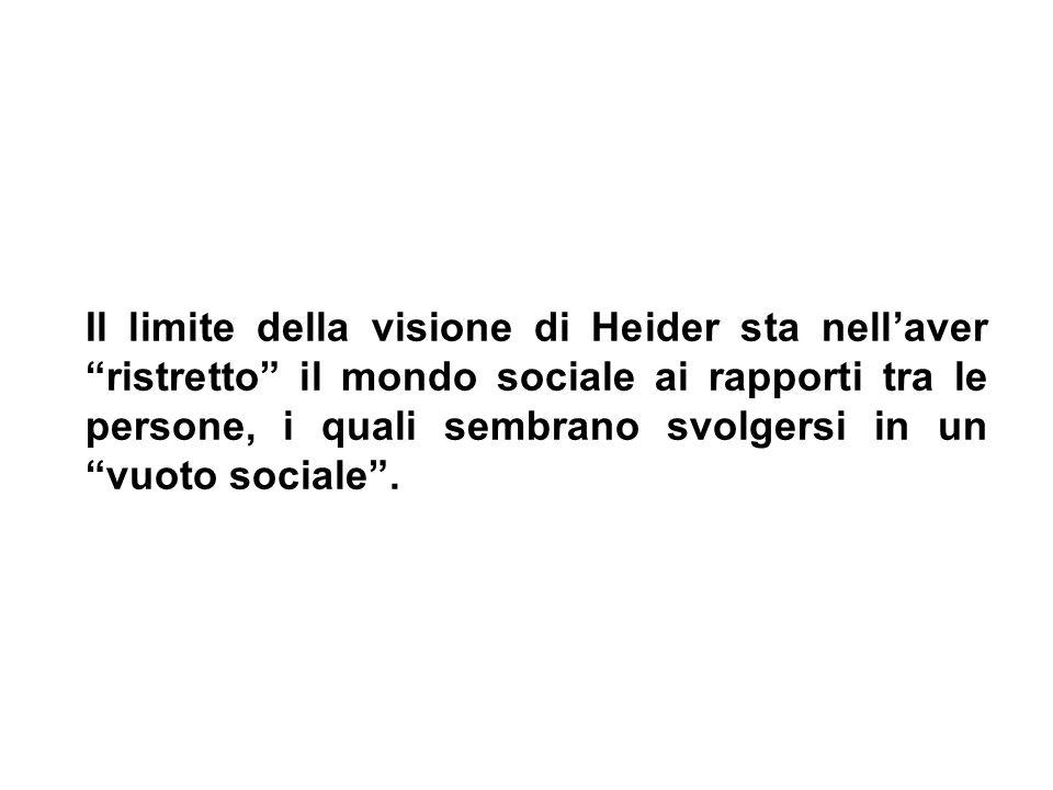 Il limite della visione di Heider sta nell'aver ristretto il mondo sociale ai rapporti tra le persone, i quali sembrano svolgersi in un vuoto sociale .