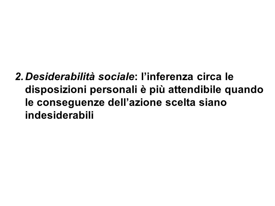Desiderabilità sociale: l'inferenza circa le disposizioni personali è più attendibile quando le conseguenze dell'azione scelta siano indesiderabili