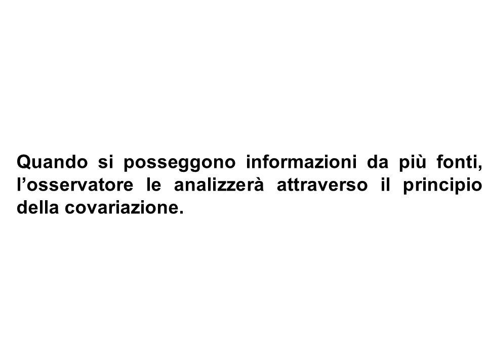 Quando si posseggono informazioni da più fonti, l'osservatore le analizzerà attraverso il principio della covariazione.