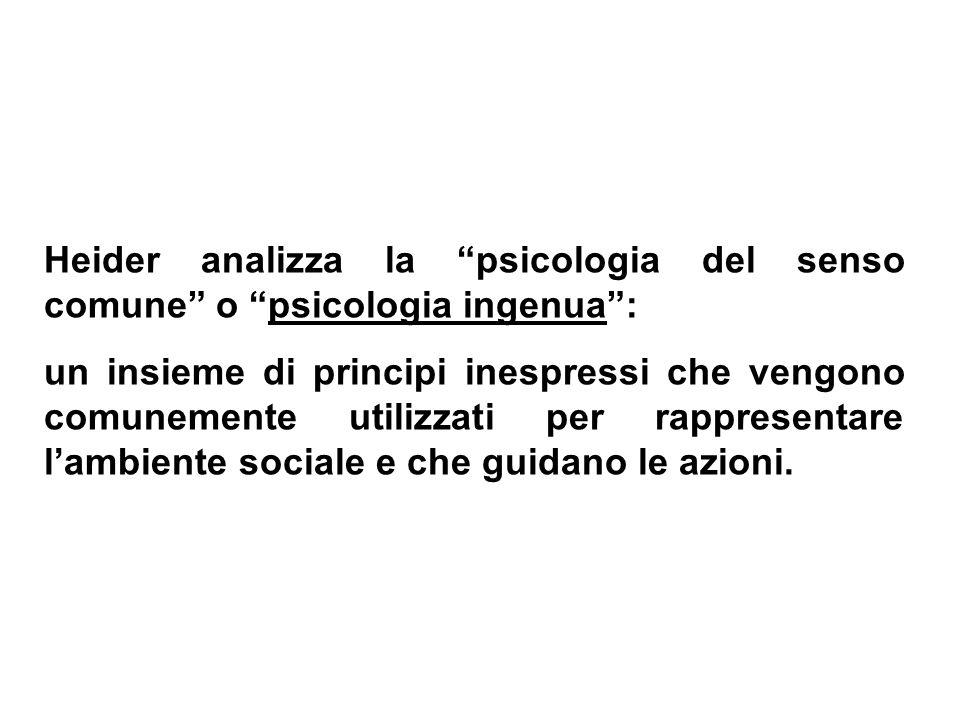 Heider analizza la psicologia del senso comune o psicologia ingenua :