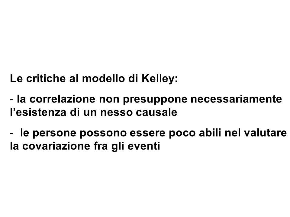 Le critiche al modello di Kelley: