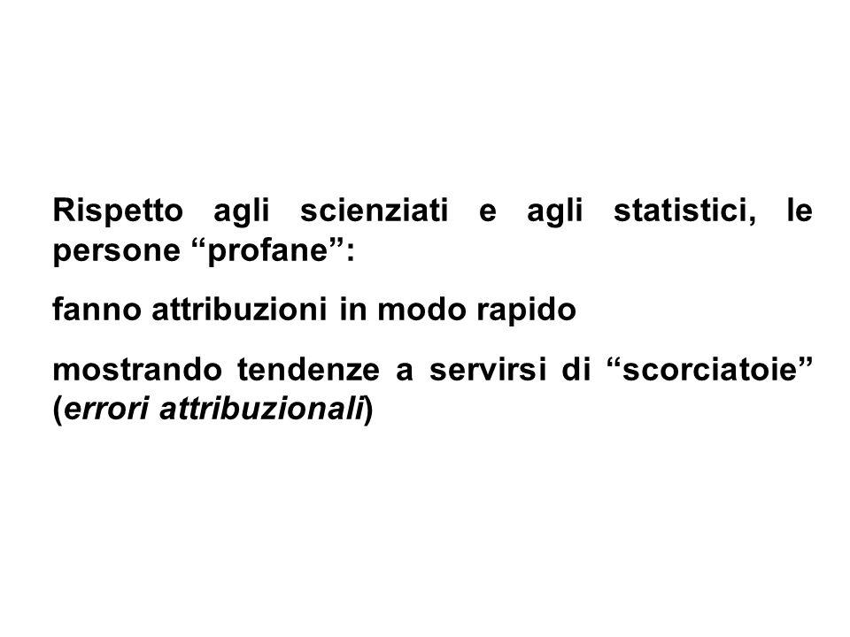 Rispetto agli scienziati e agli statistici, le persone profane :