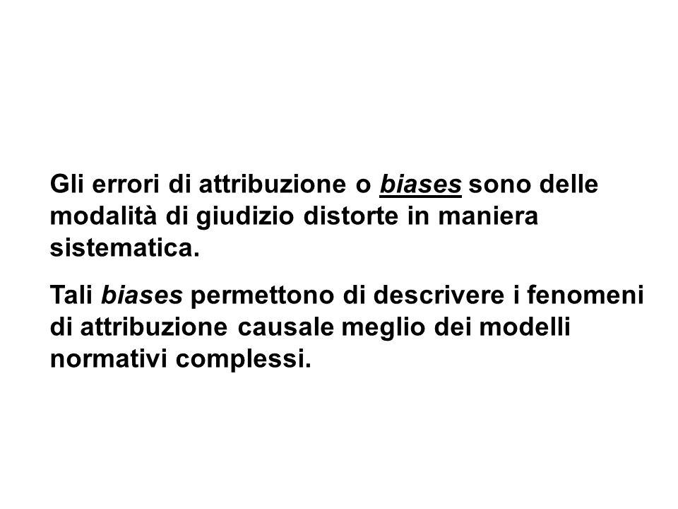 Gli errori di attribuzione o biases sono delle modalità di giudizio distorte in maniera sistematica.
