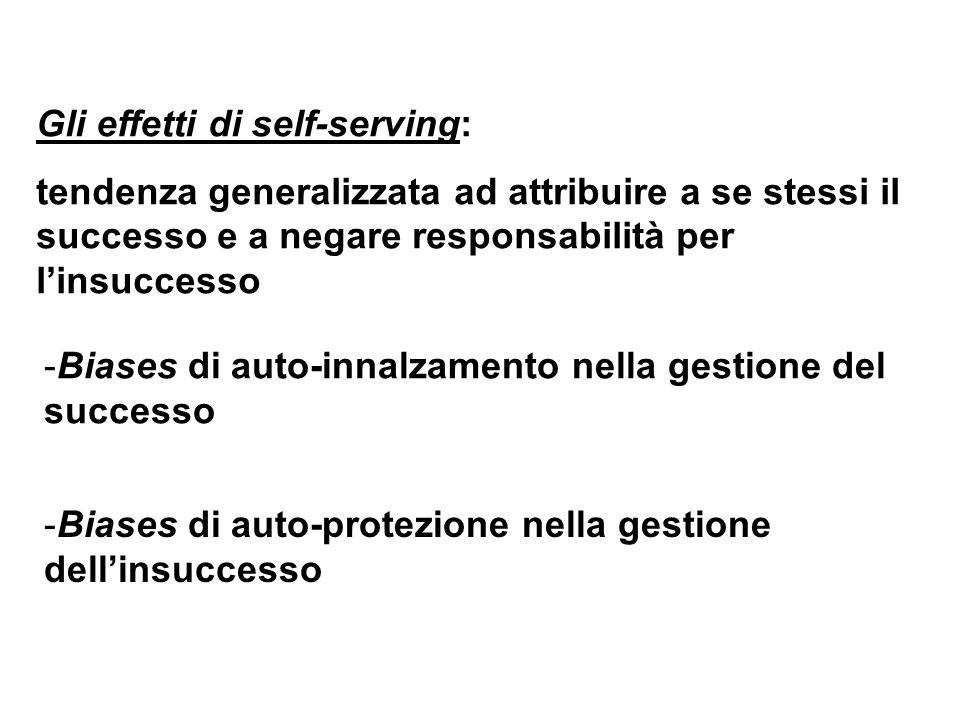 Gli effetti di self-serving:
