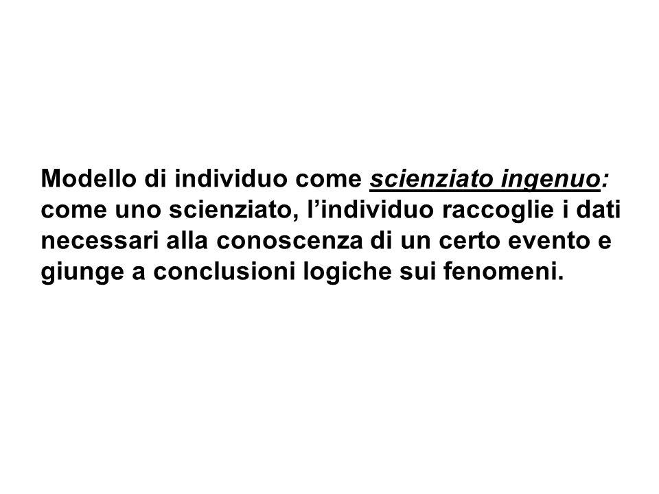 Modello di individuo come scienziato ingenuo: come uno scienziato, l'individuo raccoglie i dati necessari alla conoscenza di un certo evento e giunge a conclusioni logiche sui fenomeni.