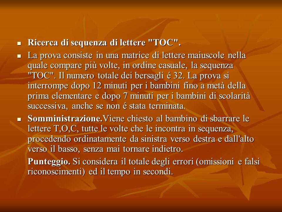 Ricerca di sequenza di lettere TOC .