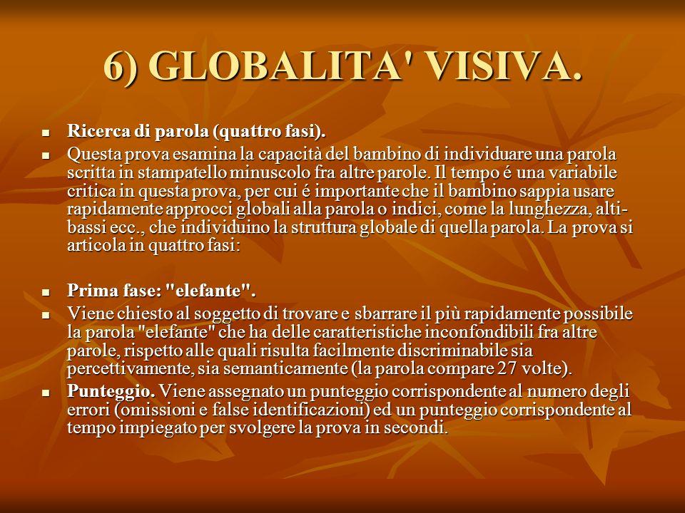 6) GLOBALITA VISIVA. Ricerca di parola (quattro fasi).