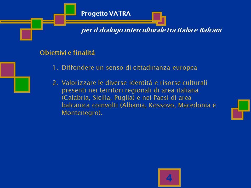 Progetto VATRA per il dialogo interculturale tra Italia e Balcani. Obiettivi e finalità. Diffondere un senso di cittadinanza europea.