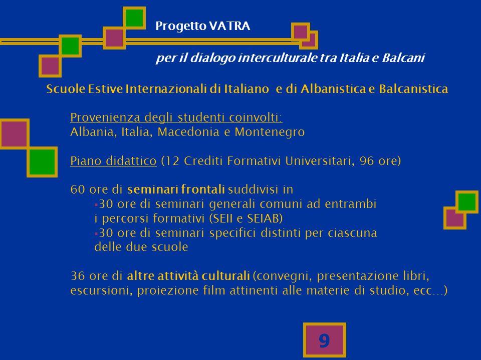 Progetto VATRA per il dialogo interculturale tra Italia e Balcani. Scuole Estive Internazionali di Italiano e di Albanistica e Balcanistica.