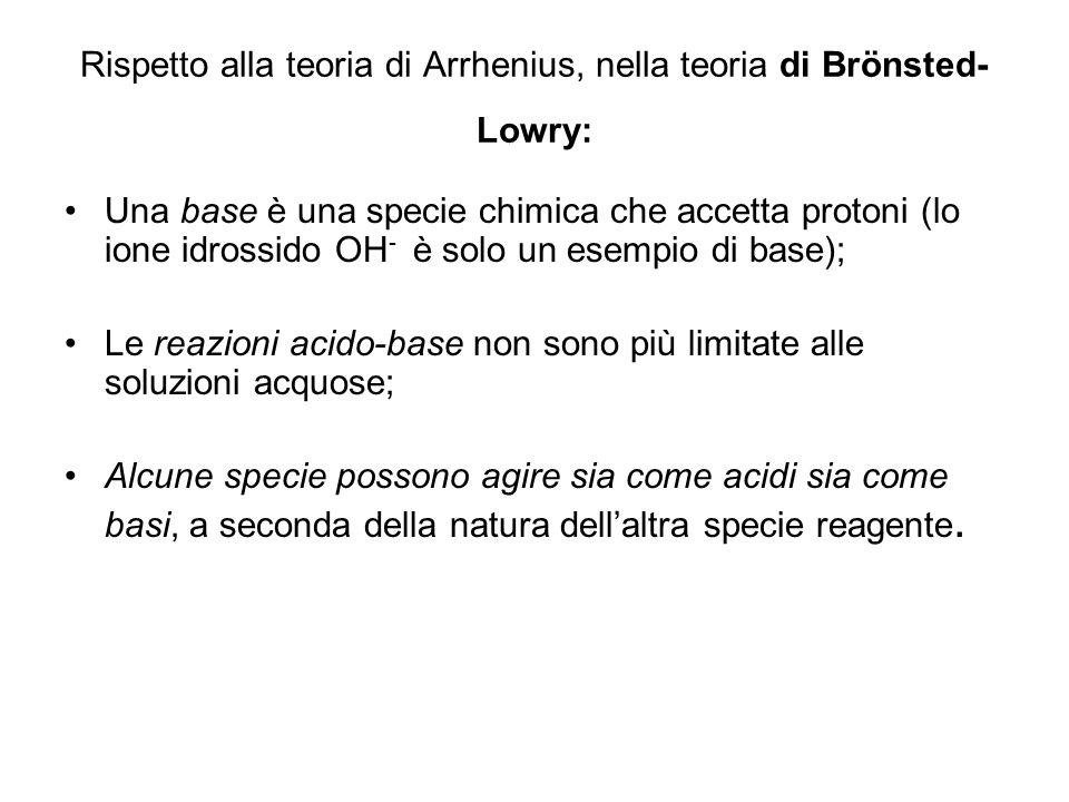 Rispetto alla teoria di Arrhenius, nella teoria di Brönsted- Lowry: