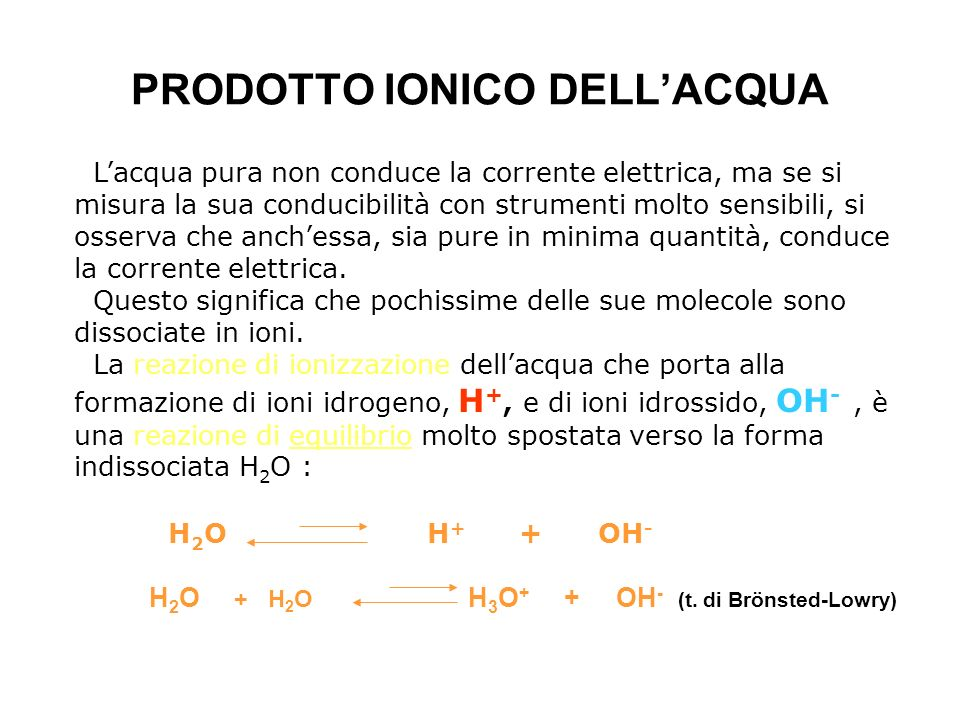 PRODOTTO IONICO DELL'ACQUA