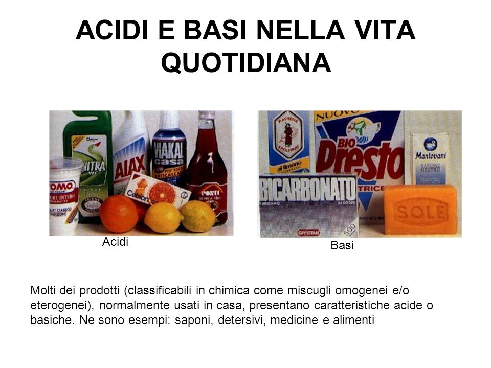 ACIDI E BASI NELLA VITA QUOTIDIANA