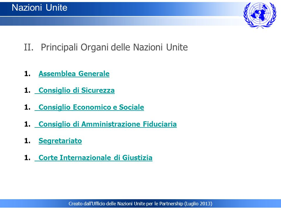 Principali Organi delle Nazioni Unite