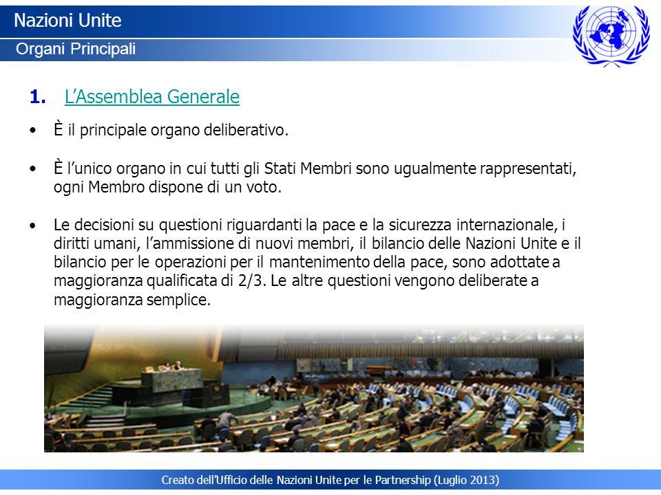Nazioni Unite L'Assemblea Generale Organi Principali