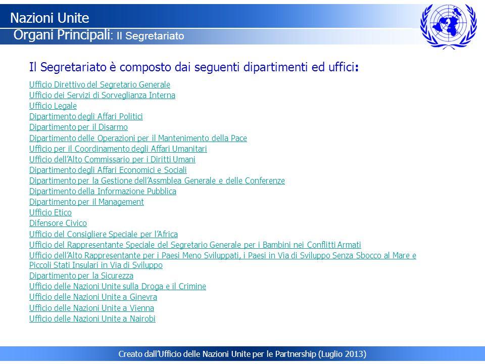 Nazioni Unite Organi Principali: Il Segretariato