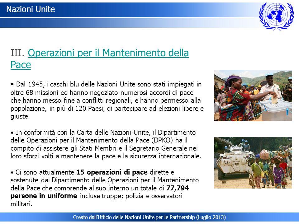 III. Operazioni per il Mantenimento della Pace